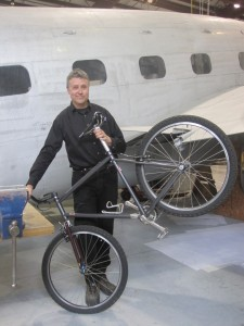 Paul Brodie Bike Frame Building School in airport hangar University of Fraser Valley