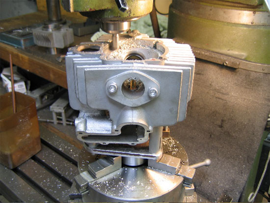head on the rotary table to increase compression and accept the 4mm larger cylinder liner