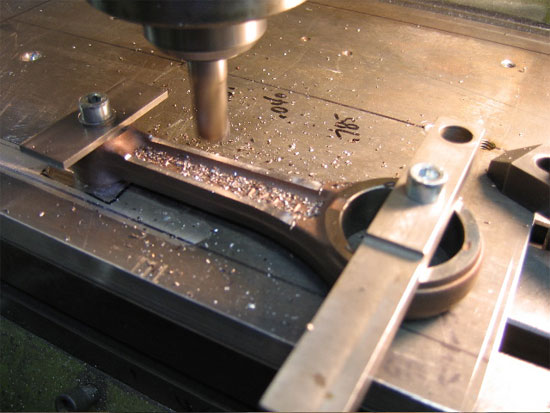 Machining the SRX rod to a thinner profile.