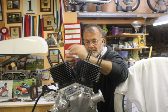 Back in the X Factory Race Dept. Leon taking the motor apart.