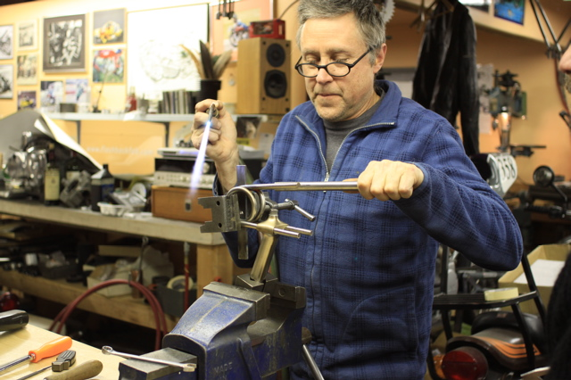 Paul Brodie making the seat spring for 1888 Whippet Replica